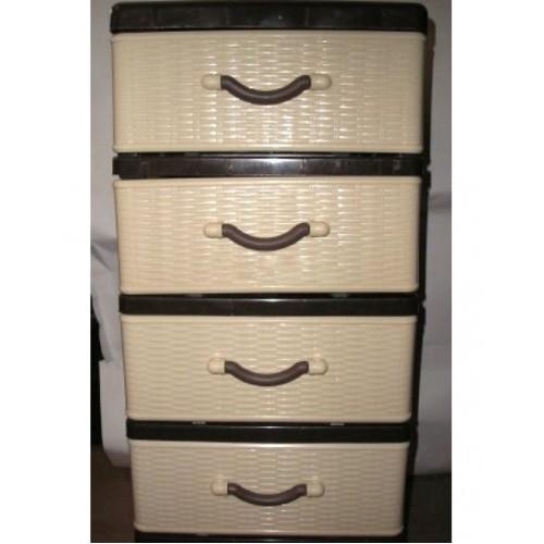 Комод пластиковый Стиль мини (4 ящика) бежево-коричневый
