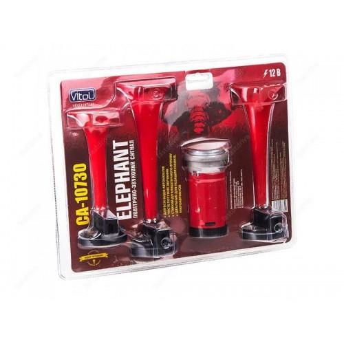 Сигнал воздушный CA-10730/Еlephant/3-дудки пластик,красный