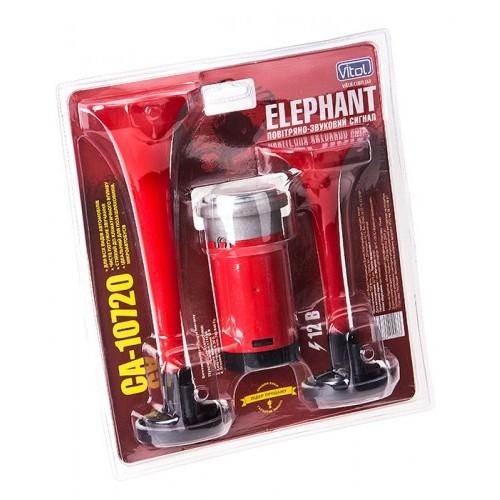 Сигнал воздушный CA-10720/Еlephant/2-дудки пластик,красный